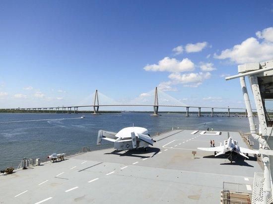 Patriots Point Naval & Maritime Museum: View looking towards Arthur Ravenel Jr. bridge