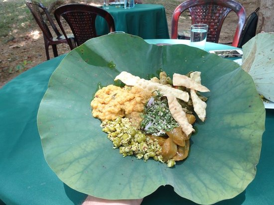 Dambulu Oya Family Park: Lunch on a lotus leaf