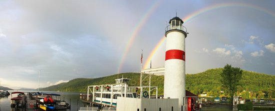 Lake Front Hotel: Double Rainbow over Glimmerglass Queen Boat Tour