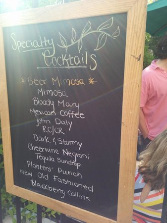 Hominy Grill: The drink list during brunch