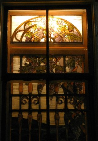 Lavender and Lace Bed and Breakfast: Stained Glass at Night from Sidewalk