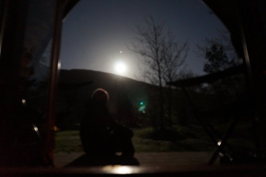 Wasdale National Trust Campsite: moon light over scafell pike