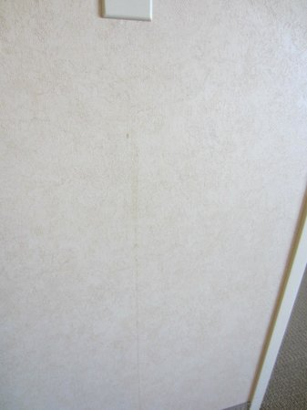 Little Rock Marriott : Obvious Stains on wallpaper under light switch in the plain sight.
