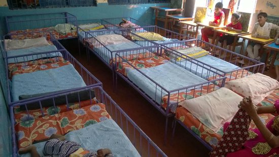 Mother Teresa's Missionaries of Charity: Bed stacked up to maximize space