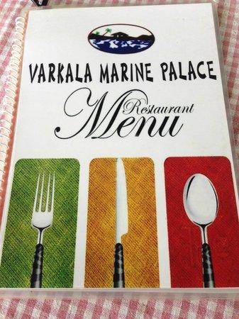 Varkala Marine Palace: Menu