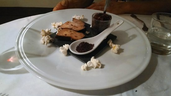 L'Estaminet: Foie Gras (no bread, it was Passover, so they put in popcorn!)