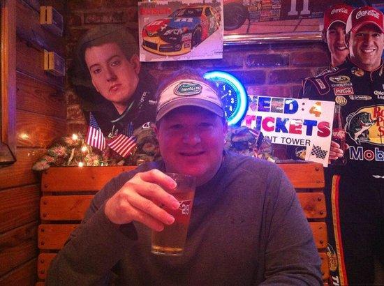 Daytona Brickyard: Enjoying a cold beer along with my burger...
