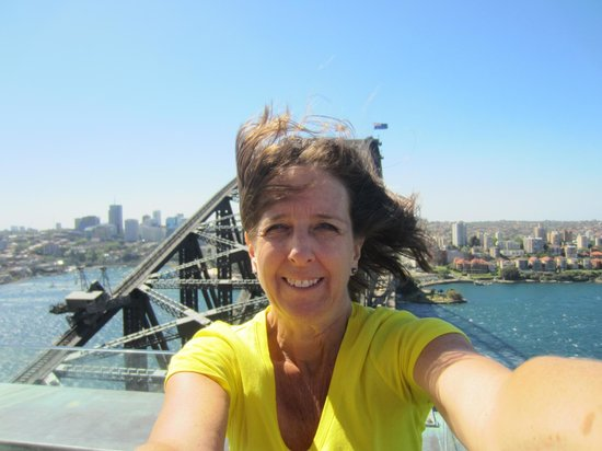 BridgeClimb: My mom on the pylon. It was really windy that day!