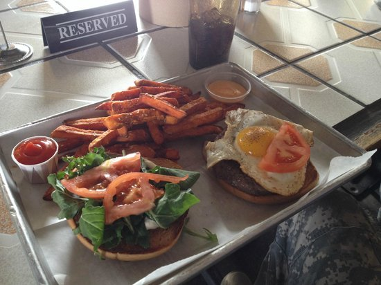 The Cove : EGG-ceptional Burger with sweet potato fries