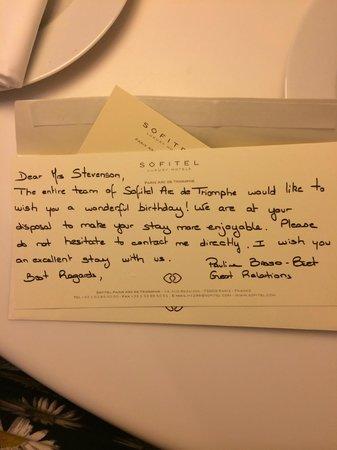 Sofitel Paris Arc de Triomphe: Lovely 'Happy Birthday' message, courtesy of Paula