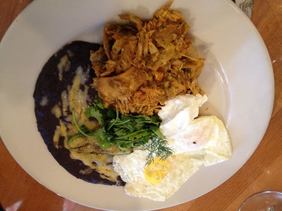 Larks Home Kitchen Cuisine: Shredded chicken chilaquiles