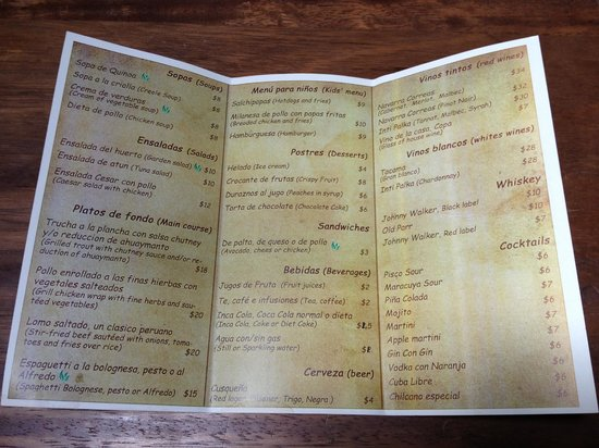 Sacred Dreams Lodge: Restaurant menu as of April 2014