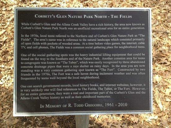Corbett's Glen Nature Park: Park plaque