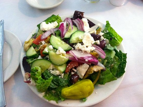 The Riverboat Landing: Greek salad- it looked good at first but after close inspection it was obvious that it was a day