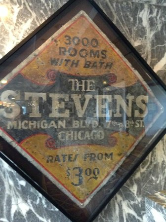 Hilton Chicago: Historic Sign in history room located just off the main lobby