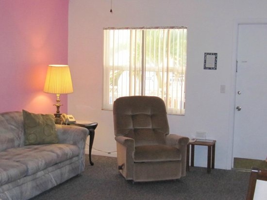 Great Heron Inn : Spacious living area with sofa, recliner, small tv