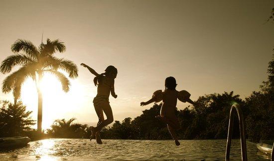 Tulemar Bungalows & Villas : Infinity pool at Nido de Gansos at sunset