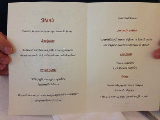 Rivignano, İtalya: Menù del pranzo di Pasqua - Easter day menu