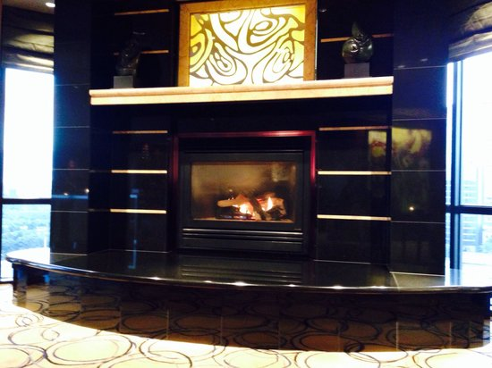 Park Hyatt Melbourne: Fireplace in club lounge. One of the biggest club lounges I've been in (and there have been many