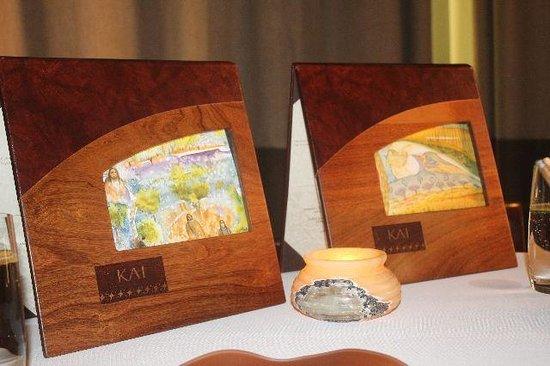 Kai Restaurant: Wooden menus