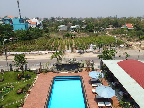 Grassland Hotel: View from Room 406 over the pool and tree farm
