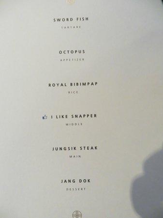 Jungsik: Tasting menu april 2014