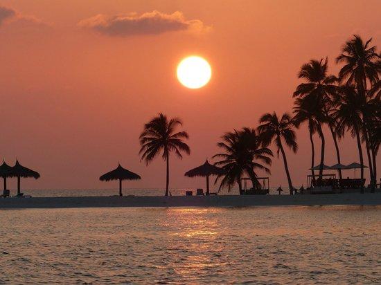 Veligandu Island Resort & Spa: sunset at Veligandu (view from boat)
