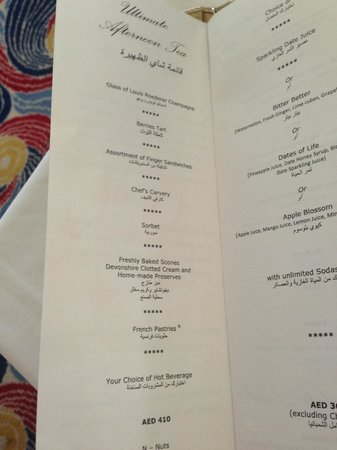 "Burj al-Arab : Menu ""Ultimate Afternoon Tea"""