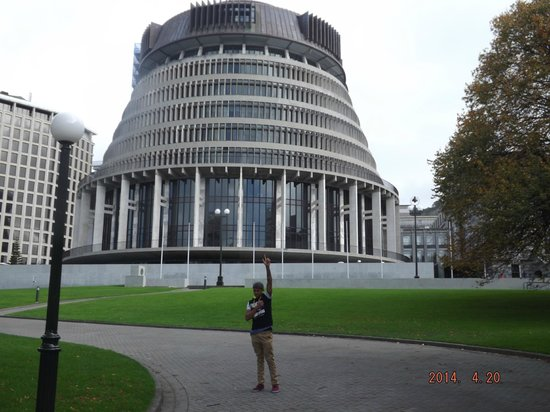 Parliament Buildings: My son posing near the Beehive