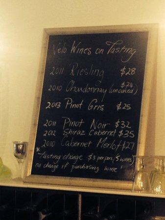 Valleybrook Wine on Wheels Tours: Tasting list at 'Velo', Apr 2014