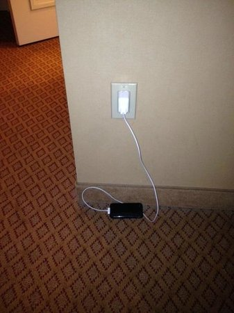 Hyatt Regency Valencia: The only accessible outlet for cell phone number two or the iron.