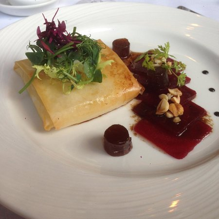 Goats cheese parcel with beetroot & quince