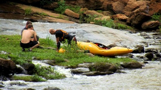 Falls Park am Reedy River: Sometimes you can catch someone going over the falls or right there after.