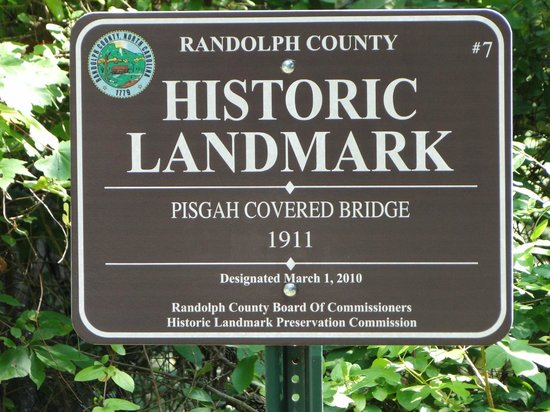 Pisgah Covered Bridge: sign on road