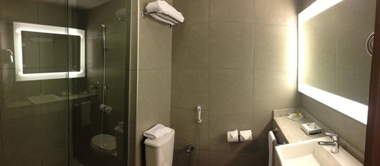 Novotel Salvador Hangar Aero : Clean updated bathroom... PS this is a pano pic the bathroom is small but plenty of room