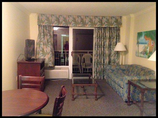 Sandy Beach Resort Living Room With Balcony