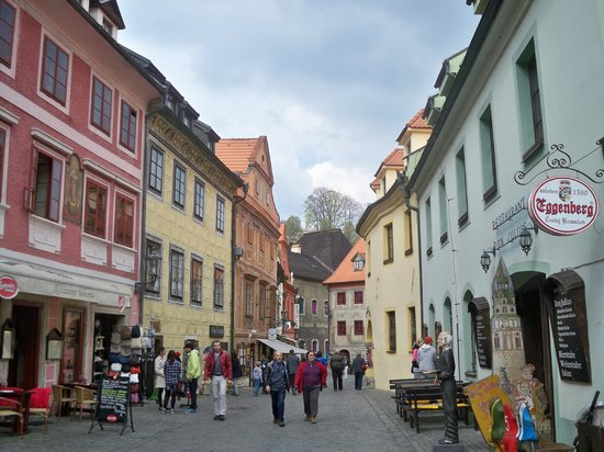 Historic Center of Cesky Krumlov : variation of color-painted walls of the street