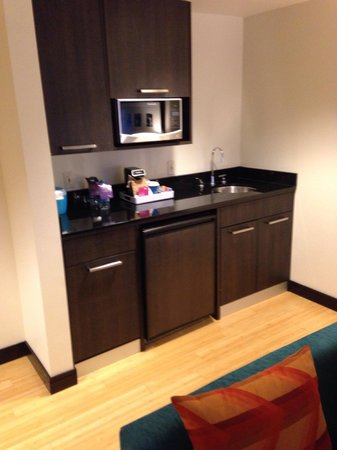 Aloft Silicon Valley : The microwave, refrigerator with the in room tea and coffee. All very clean and helpful to have.