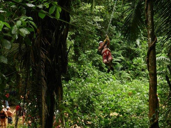 Belize Zipline and Cave Tubing Adventure: Rick ziplining in Belize