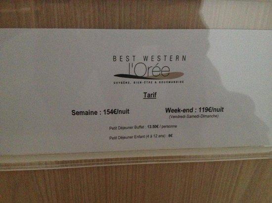 Best Western Hotel L'Oree : Tarifs