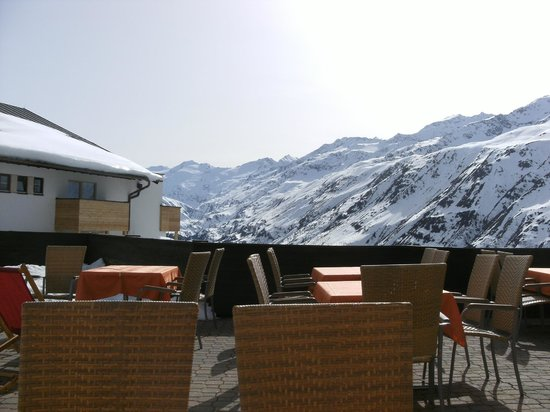 Hotel Angerer Alm: View from the tables outside the hotel.