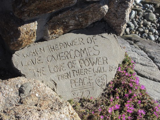 Pacific Grove Oceanview Boulevard: My favorite secular quotation (attributed to Jimi Hendrix) at the most beautiful spot on earth!