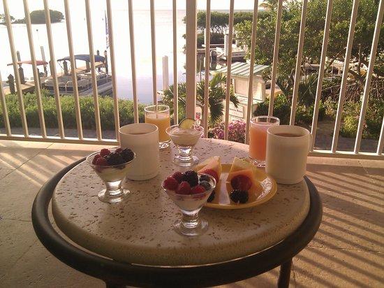 Dove Creek Lodge: Breakfast on the hotel lounge balcony