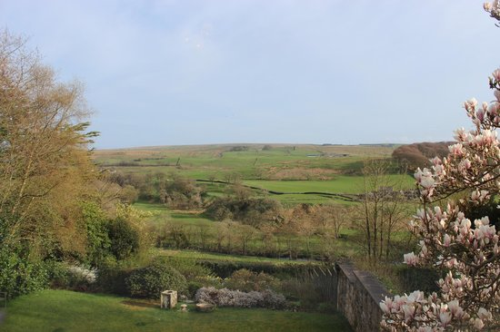 The Hill on the Wall Country Guest House: The view from our room - Hadrian's Wall in the valley