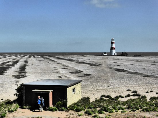 Orford Ness National Nature Reserve: The lighthouse from the black barn