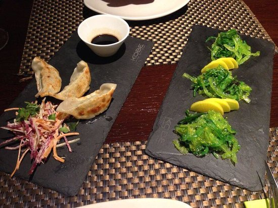 KOBE Steak Grill Sushi Restaurant Vaclavske nam.: Gyoza and see weed salad