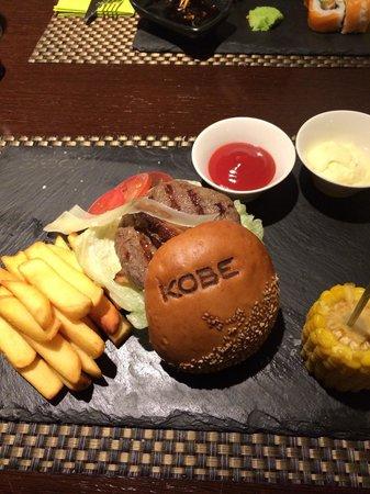 KOBE Steak Grill Sushi Restaurant Vaclavske nam.: Kobe beef burger with goose liver