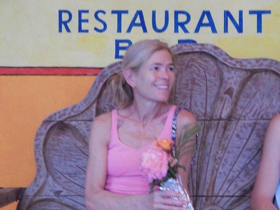 Eva`s Brickhouse : Happy with her bouquet of roses from Eva's Garden
