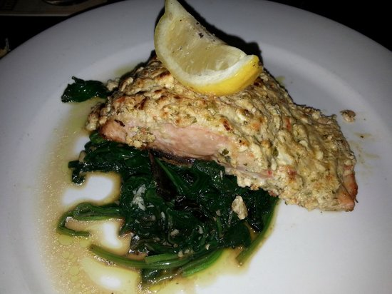 The Greek Joint: Another shot of my EPIC feta crusted Salmon.