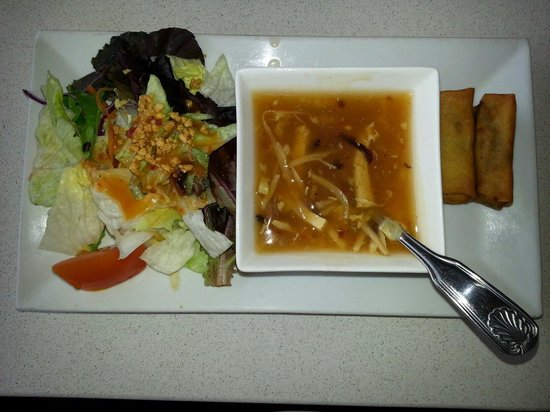Soup salad and appetizer comes with lunch orders for 7 spices asian cuisine